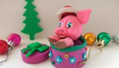 Свинка из пластилина в шкатулке