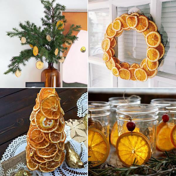 сушеные апельсиновые дольки для новогодних украшений