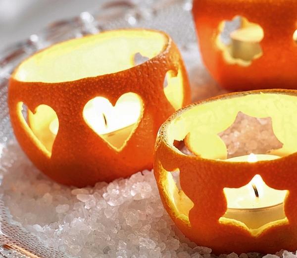 свеча из кожуры апельсина