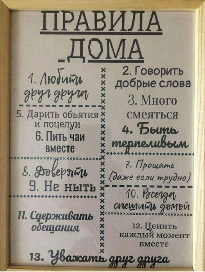 правила дома в рамке
