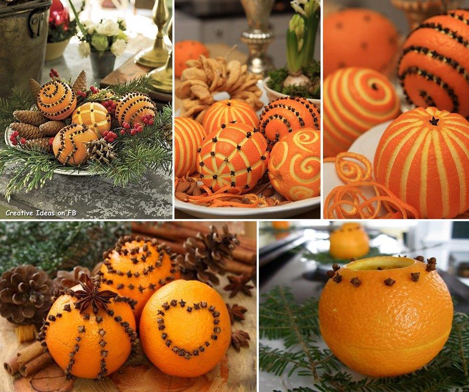 декор на новый год из целых апельсинов