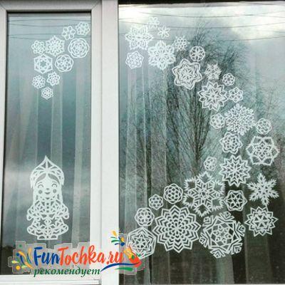 новогоднее украшение на окно из бумаги шаблоны снежинки