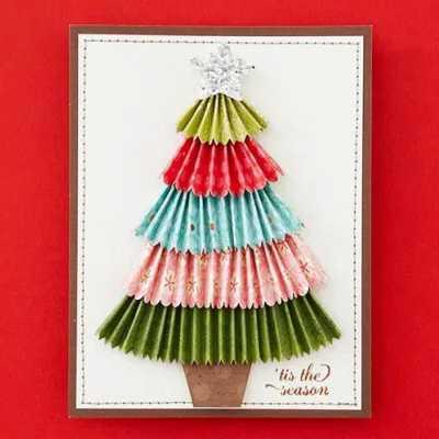новогодние открытки своими руками из разных материалов