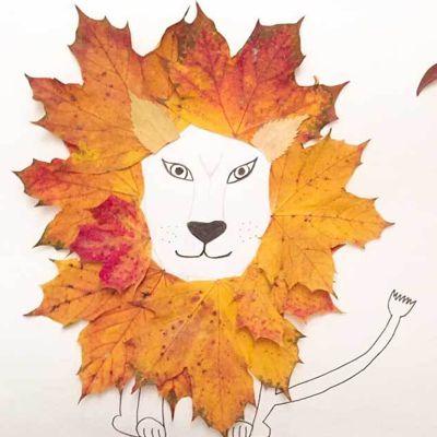 лев из листьев клена поделка