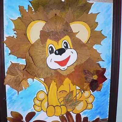 лев из листьев осенняя поделка из природного материала