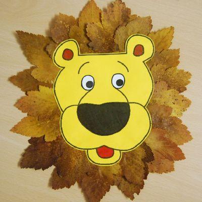 лев из листьев клена поделка шаблон