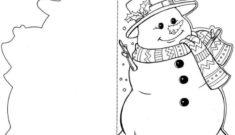 снеговик раскраска открытка
