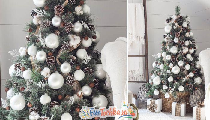 елка на новый год 2020 белый цвет