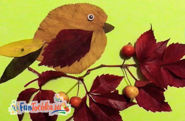 аппликации из осенних листьев воробей