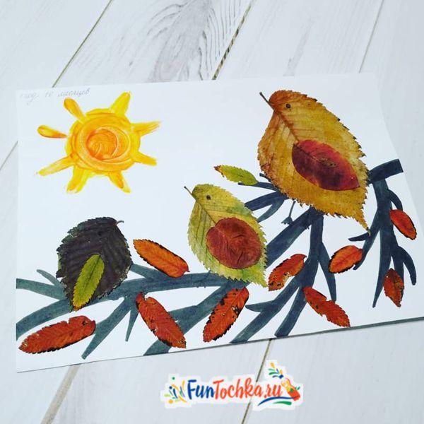 аппликации из осенних листьев птицы