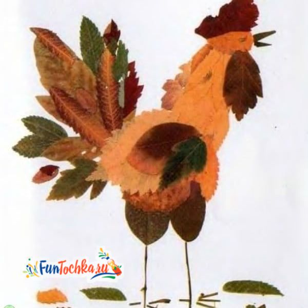 аппликации из осенних листьев петух