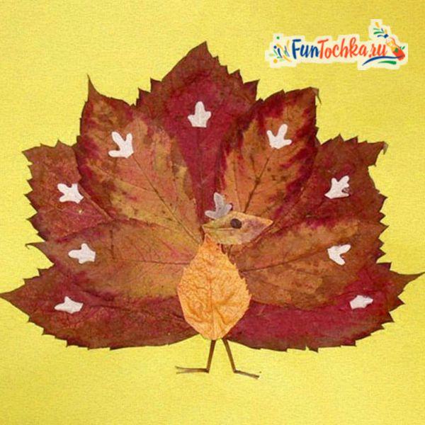 аппликации из осенних листьев павлин