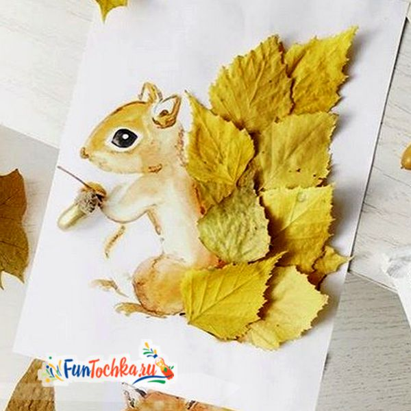 аппликации из осенних листьев белочка