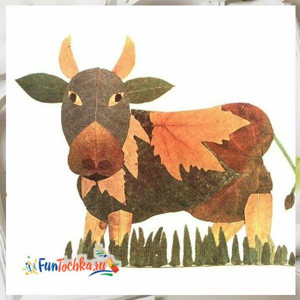 аппликации из осенних листьев корова