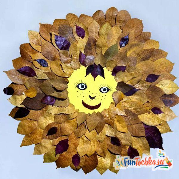 аппликации из осенних листьев солнце для детей
