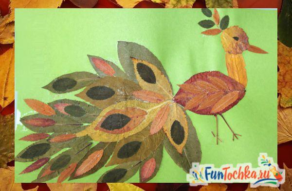 аппликации из осенних листьев павлин шаблон