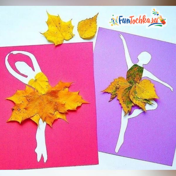 аппликация из листьев на тему осень для детского сада балерина